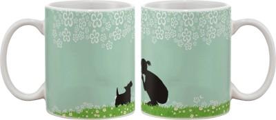 Artifa Girl And Dog Porcelain, Ceramic Mug
