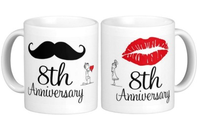 Exoctic Silver 8th Marriage Anniversary Ceramic Mug