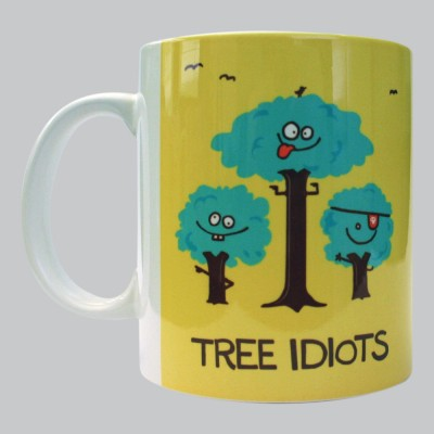 Chimp Tree Idiots Porcelain Mug