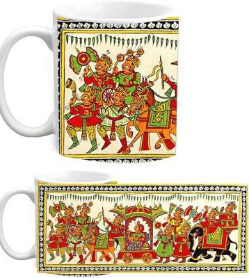 Jiya Creation1 Old Rajasthan Traditional White Ceramic Ceramic Mug