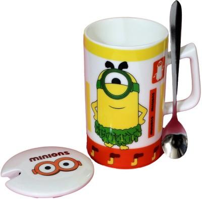 Satyam Kraft Minions  - Meet Stuart Kevin and Bob  with Metal Spoon and Lid - Version 1 Ceramic Mug