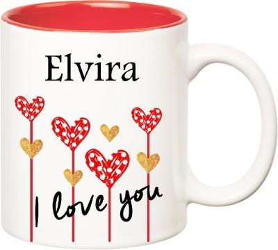 Huppme I Love You Elvira Inner Red  (350 ml) Ceramic Mug
