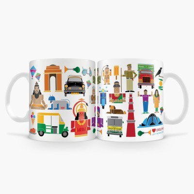 LetterNote Delhi White Combo Ceramic Mug