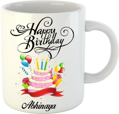 HuppmeGift Happy Birthday Abhinaya White  (350 ml) Ceramic Mug