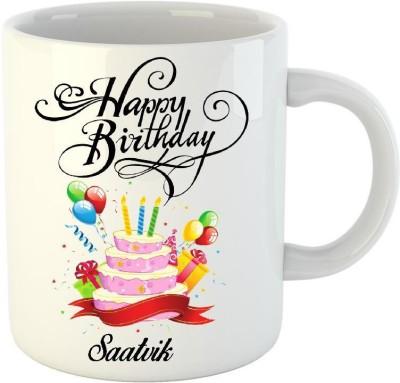 Huppme Happy Birthday Saatvik White  (350 ml) Ceramic Mug