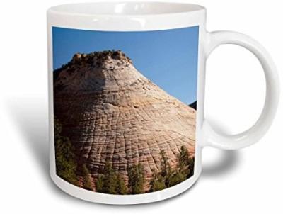 3dRose USA Utah, Checkerboard Mesa in Zion National Park Us45 Lfo0002 Lee Foster Ceramic , 11 oz, White Ceramic Mug