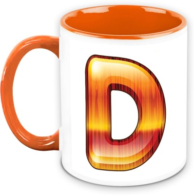 HomeSoGood Flamboyant Orange Alphabet D Ceramic Mug