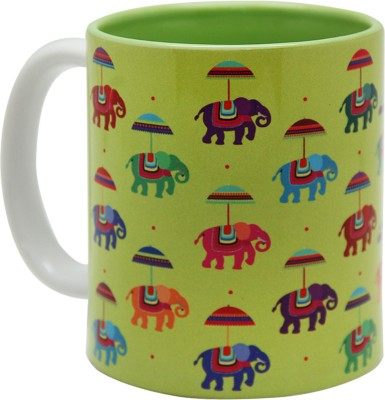 The Elephant Company Ceramic Flying Elephants Green Ceramic Mug