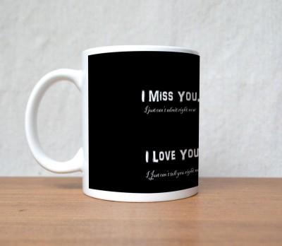 StyBuzz I miss you I need you black valentine Porcelain Mug
