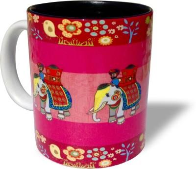 Blue Sky Designz Decorated Elephant - Dark Pink Ceramic Mug