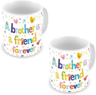 Indian Gift Emporium Brother is a Friend Forever Quote Coffee  Pair 527 Ceramic Mug