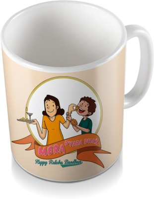 SKY TRENDS GIFT Mera Pyara Bhai Happy Rakshabandhan For Floral Rakhi Design Coloring Gifts For Rakshabandhan Coffee Ceramic Mug