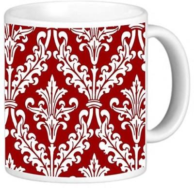 Rikki Knight LLC Knight Photo Quality Ceramic Coffee , 11 oz, Burgundy Color Damask Design Ceramic Mug