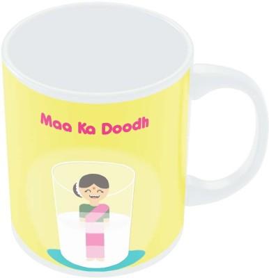 PosterGuy Maa Ka Dhoodh Funny Graphic Illustration Porcelain Mug