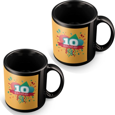 posterchacha Happy 10 Th Anniversary Party Balloon Black Tea And Coffee To Give As Anniversary Gift To Loved One Ceramic Mug