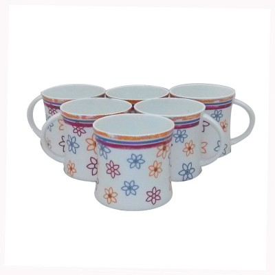 Classique Floral Hand Print Coffee/ Tea Cups Set Of 6 Pieces (CLMG2401) Made Of Bone China Mug