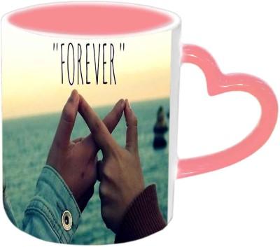 Jiya Creation1 Forever Pink Heart Handle Ceramic Mug