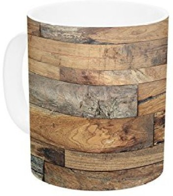 Kess InHouse InHouse Susan Sanders Campfire Wood Rustic Ceramic Coffee , 11 oz, Multicolor Ceramic Mug