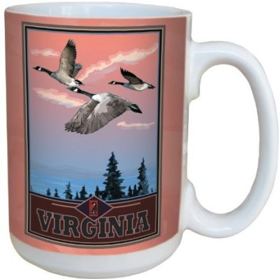 Tree-Free Greetings Greetings lm43037 Scenic Virginia Geese by Joanne Kollman Ceramic  with Full-Sized Handle, 15-Ounce, Multicolored Ceramic Mug