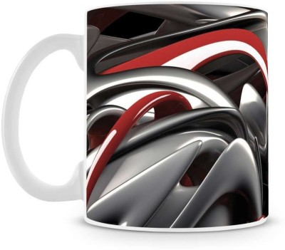 Saledart Mg709-Red And Black Abstract Ceramic Mug