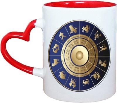 Muggies Magic Horoscope design logo Red Heart Handle 11 Oz Ceramic Mug(325 ml)