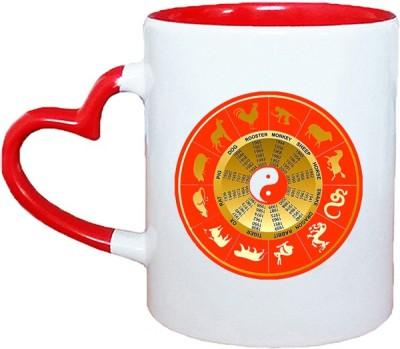 Muggies Magic Orig Horoscope Red Heart Handle 11 Oz Ceramic Mug(325 ml)