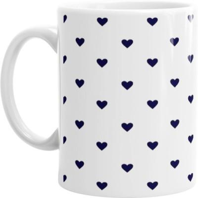 Hainaworld Blue Heart Spots Coffee  Ceramic Mug