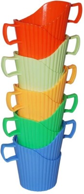 Blossoms 10 Pcs Porable Plastic Disposable Paper Cup Heat and Cold Insulation Holder Plastic Mug