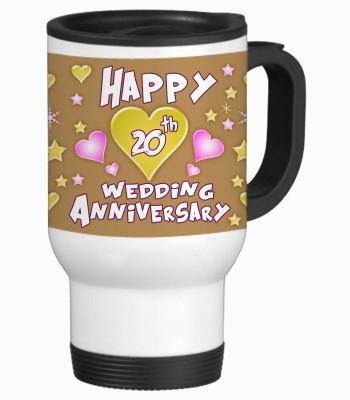 Sajawat Homes 20th Happy Anniversary White Travel Stainless Steel Mug