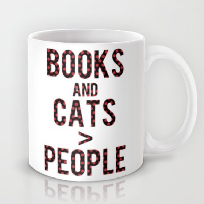 Astrode Books And Cats Are Greater Than People Ceramic Mug