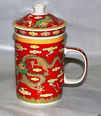 AdorroBella Porcelain Chinese Tea  with Infuser and Lid Ceramic Mug