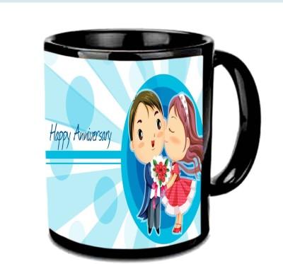 Jiya Creation1 Happy Anniversary with Love theme Multicolor Ceramic Mug