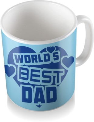 SKY TRENDS GIFT World ,s Best Dad With Blue Heart Gifts For Father,s Day Coffee  Ceramic Mug