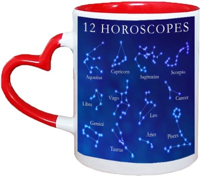 Muggies Magic 2 horoscope Red Heart Handle 11 Oz Ceramic Mug(325 ml)