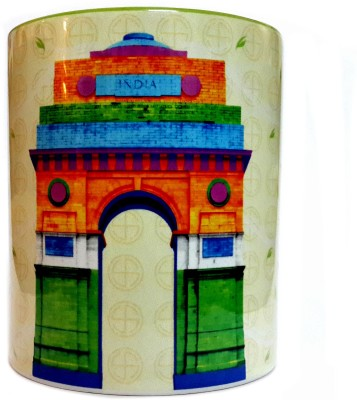 Indiavibes Printed Ceramic Coffee Tea  with India Gate Theme Ceramic Mug