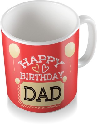 SKY TRENDS Happy Birthday Dad With White Balloon Cool Gifts For Birthday And Anniversary Coffee Ceramic Mug