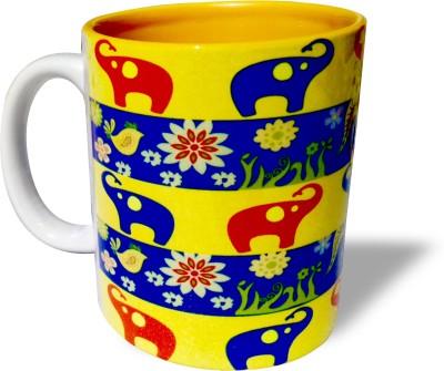 Blue Sky Designz Multi Elephant Yellow Blue Ceramic Mug