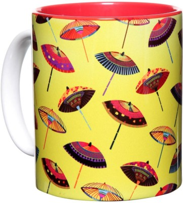 The Elephant Company Pop Parasol Yellow Ceramic Mug