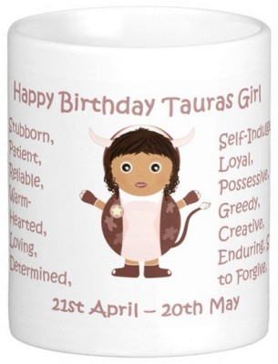 Exoctic Silver Happy Birthday Tauras Girl Ceramic Mug