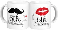 iZor Gift for Husband/Wife/Boyfriend/Girlfriend/Couples On Anniversary;6th Anni Habby And Wifey Printed Ceramic Mug