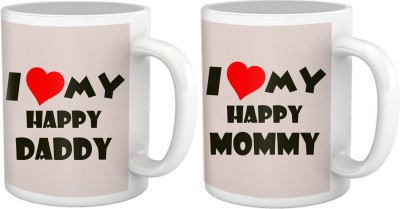 Tiedribbons Gift for Parents Day, I love my Happy Mom & Dad, Set of Two Ceramic Mug