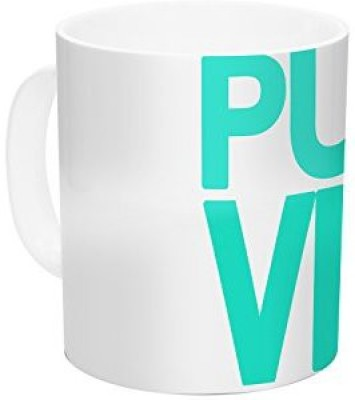 Kess InHouse InHouse Geordanna Cordero-Fields Turquoise Pura Vida Blue White Ceramic Coffee , 11 oz, Multicolor Ceramic Mug