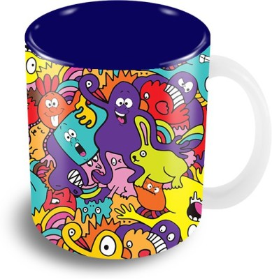 Thecrazyme Monsters Colorful Faces Mixed Pattern Coffee Ceramic Mug
