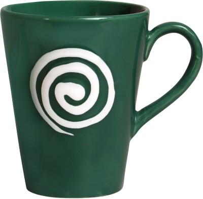 caffeine Coffee  Ceramicin Green & White Doodle Platform (Set of 1) Ceramic Mug