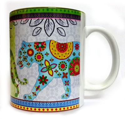 Indiavibes Printed Ceramic Coffee Tea  with Tiger 2 Theme Ceramic Mug