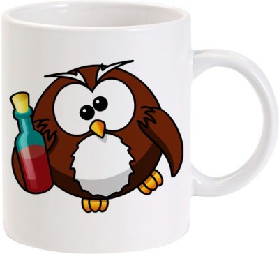 Lolprint Drunk Owl Ceramic Mug