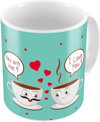 Indiangiftemporium Blue Designer Romantic Print Coffee  701 Ceramic Mug