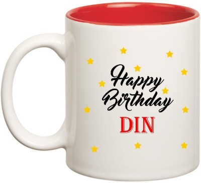 Huppme Happy Birthday Din Inner Red Ceramic Mug(350 ml)