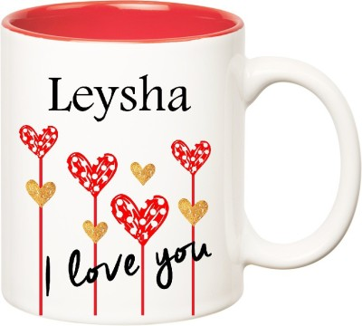 Huppme I Love You Leysha Inner Red  (350 ml) Ceramic Mug