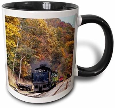 3dRose mug_97085_4 West Virginia, Cass Scenic Railroad, Steam Train US49 WBI0030 Walter Bibikow Two Tone Black , 11 oz, Black/White Ceramic Mug